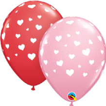 Random Hearts - 11 Inch Balloons 25pcs (Red & Pink)